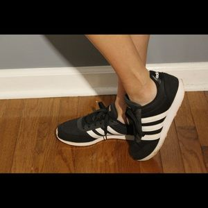 Adidas black, white, and pink sneakers